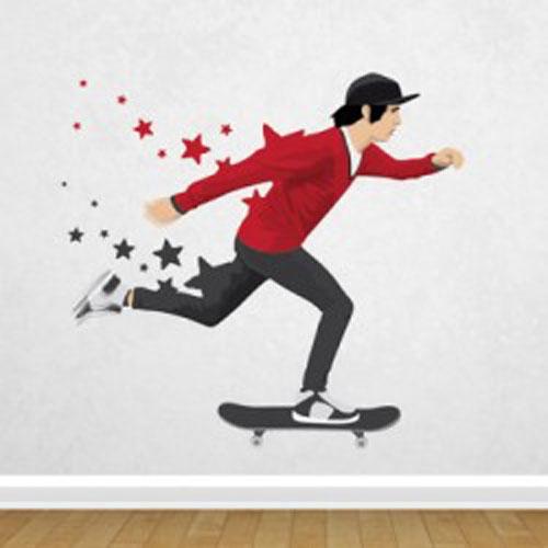 Adesivo decorativo para o quarto do seu filho Skate Star.