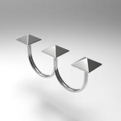 Anel Mar de Prata duplo de prata 925 modelo rebite moda da novela