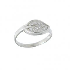 Anel folha de prata 925 com micro zirconias mar de prata