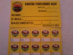 Esse é o cartão fidelidade do açaí tigela, na compra de 10 açaí tigela, você ganha um grátis, aproveite a promoção!!