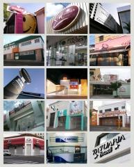 Exemplos de fachadas comerciais com criação de identidade visual.