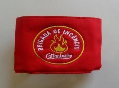 Braçadeira de identificação personalixada com logo da empresa e brigada de incêndio bordados