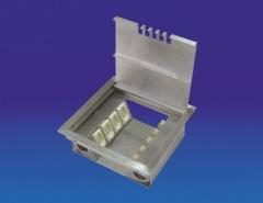 Caixa de piso elevado em alumínio. tampa com eixo e sem rebaixo. capacidade para até (4x) 2p+t nbr e (5x) rj45. ref: cpemd18sr
