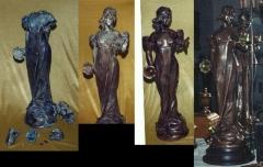 Estatueta luminária, ligas de metal branco - cliente particular - rj