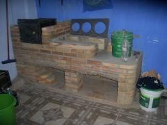 Forno e fogÃo de tijolo laminado a vista