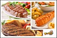 Filé grelhado e salmão grelhado