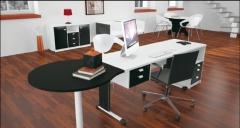 Mesa com gaveteiro volante ao lado e conexão gota