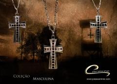 Pingente cruz - coleção masculina - 10 camadas de ouro 18 k - joias carmine