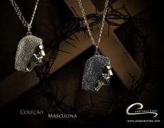 Pingente cristo - com aplique de rodio negro - 10 camadas de ouro 18k - joias carmine