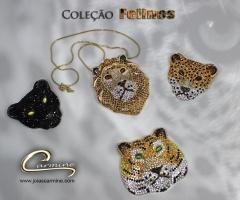 Cole��o felinos - joias exclusivas - pingente pantera em rodio negro - joias carmine