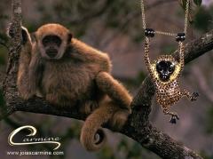 Pingente macaco muriqui - com aplique de rodio negro - joias carmine