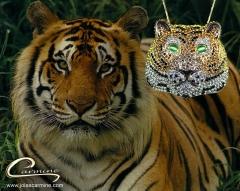 Pingente tigre joias carmine- 10 camadas de ouro 18k