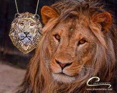 Pingente leão joias carmine - 10 camadas de ouro 18k
