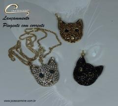 Pingente de gatos joias carmine - 10 camadas  de ouro 18k