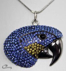 Pingente arara azul - joias carmine 10 camadas de ouro 18k