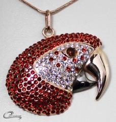 Pingente arara vermelha - joias carmine 10 camadas de ouro 18k