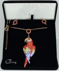 Pingente arara vermelha - joias carmine - 10 camadas de ouro 18k