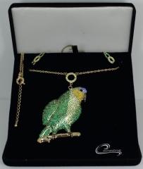 Colar  papagaio - joias carmine - 10 camadas de ouro 18k