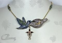 Colar beija flor  - joias carmine - 10 camadas de ouro 18k - joias exclusivas