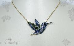 Pingente beija flor- joias carmine - 10 camadas de ouro 18k - joias exclusivas