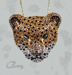 Pingente onça pintada - joias carmine - 10 camadas de ouro 18k - joias exclusivas