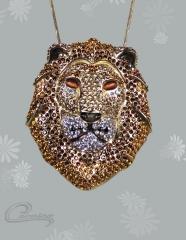 Pingente leão  - joias carmine - 10 camadas de ouro 18k - joias exclusivas