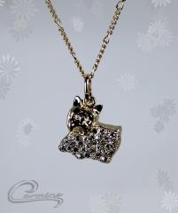 Pingente cão yorkshire  - joias carmine - 10 camadas de ouro 18k - joias exclusivas