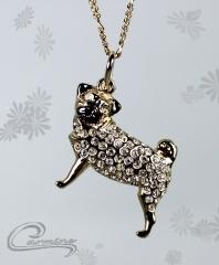 Pingente cão pug - joias carmine - 10 camadas de ouro 18k - joias exclusivas