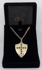 Pingente escudo - joias carmine - 10 camadas de ouro 18k - joias exclusivas