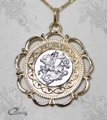 Pingente são jorge joias carmine - 10 camadas de ouro 18k - joias exclusivas
