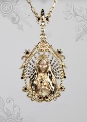 Pingente n.s de fatima joias carmine - 10 camadas de ouro 18k - joias exclusivas