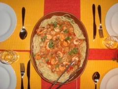 Espagueti com camarão