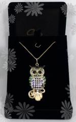 Pingente coruja - 10 camadas de ouro 18k -  joias exclusivas