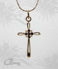 Pingente cruz c/corrente 10 camadas de ouro 18k - joias carmine