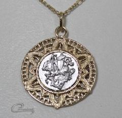 Pingente medalha são jorge c/corrente 10 camadas de ouro 18k - joias carmine