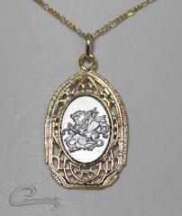 Pingente são jorge c/corrente 10 camadas de ouro 18k - joias carmine