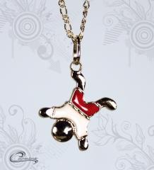 Pingente menino calvin esmaltado  vermelho c/ corrente - 10 camadas de ouro 18 k joias carmine