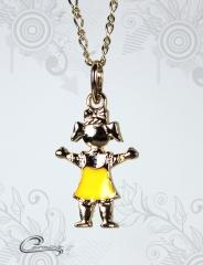 Pingente menina charlotte esmaltado amarelo  c/ corrente - 10 camadas de ouro 18 k joias carmine