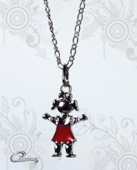 Pingente menina charlotte esmaltado vermelho c/ corrente - folheado a rodio joias carmine