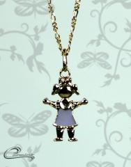 Pingente menina charlotte esmaltado roxo c/ corrente - 10 camadas de ouro 18 k joias carmine