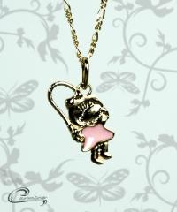 Pingente menina nadine esmaltado rosa c/ corrente - 10 camadas de ouro 18 k joias carmine