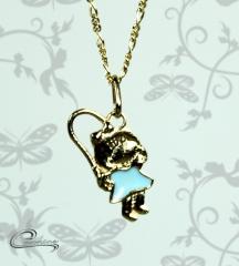 Pingente menina nadine esmaltado azul c/ corrente - 10 camadas de ouro 18 k joias carmine
