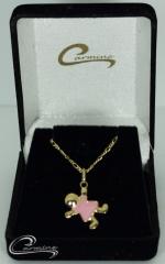 Pingente infantil coset rosa c/ corrente - 10 camadas de ouro 18 k joias carmine