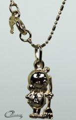Pingente berloque 3d c/corrente -10 camadas de ouro18 k joias carmine
