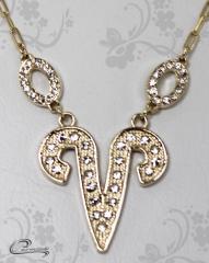 Pingente aries zodiaco  c/corrente -10 camadas de ouro18 k joias carmine