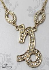 Pingente capricornio zodiaco c/corrente -10 camadas de ouro18 k joias carmine