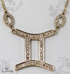 Pingente gemeos zodiaco c/corrente -10 camadas de ouro18 k joias carmine