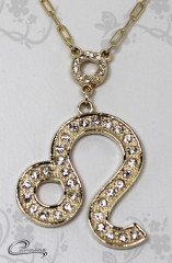 Pingente leão  zodiaco c/corrente -10 camadas de ouro18 k joias carmine