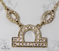 Pingente libra zodiaco c/corrente -10 camadas de ouro18 k joias carmine