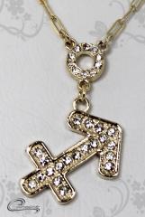 Pingente sagitario  zodiaco c/corrente -10 camadas de ouro18 k joias carmine